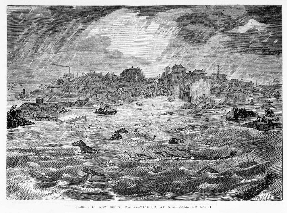 Engraving showing rough floodwaters up to the roofs of houses with debris and animals in the water